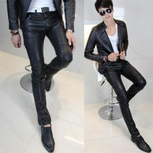 新しい到着ホット販売紳士服レザー-パンツ-タイト-な-レザー-パンツ男性スリム-レザー-パンツ-ファッション男性レザー-パンツ男性